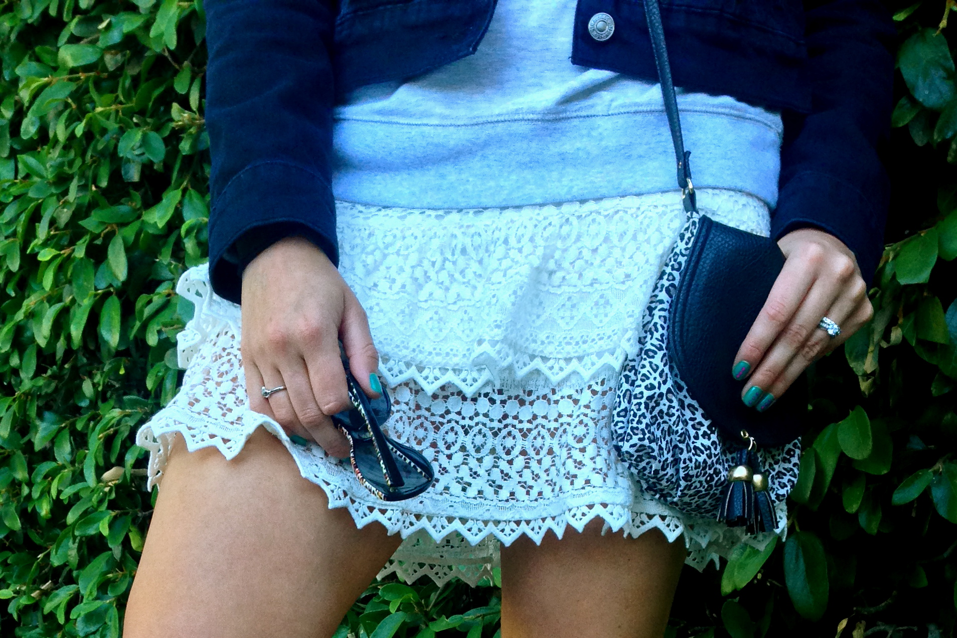 Crochet Skirt and Leopard Crossbody- glamourita.com