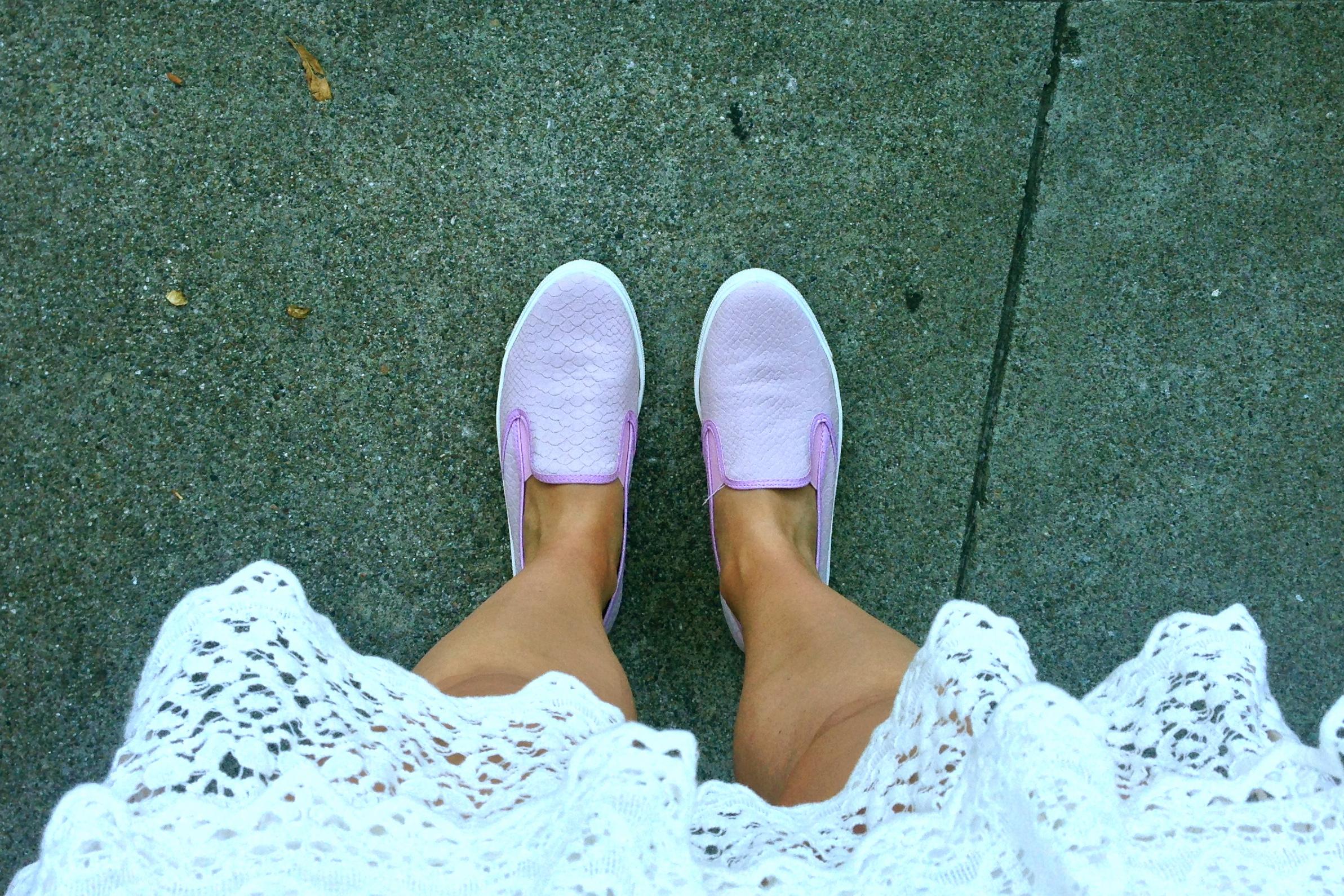 Crochet Skirt and Pink Topshop Slip-Ons- glamourita.com